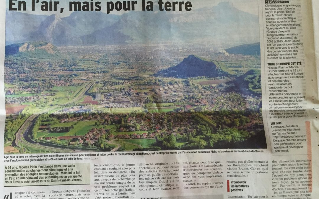 Article of the Dauphiné Libéré from April 19, 2016