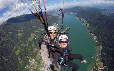 Faire le plaf en bi au dessus du lac Ossaicher See à Villach